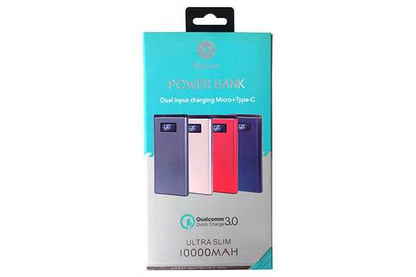 PLATINUM POWER BANK QC - SLIM METAL CASE - WITH DISPLAY & TYPE C - 10,000 MAH - PP-9003