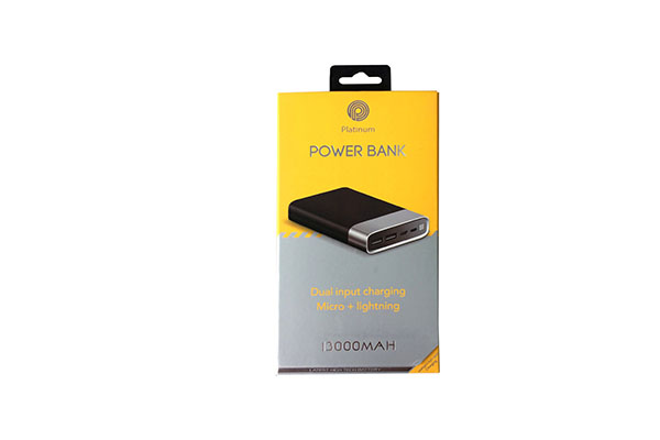 PLATINUM POWER BANK WITH TYPE C & DISPLAY -13,000 MAH - PP-9004