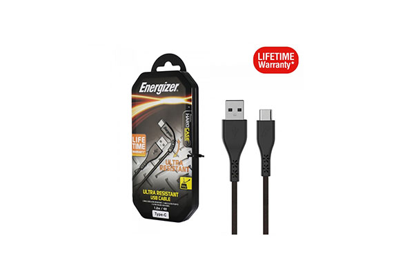 ENERGIZER ULTRA RESISTANT CABLE USB-C 2.0 - LIFETIME WARRANTY - 1.2M - BLACK - C41C2AGBKM