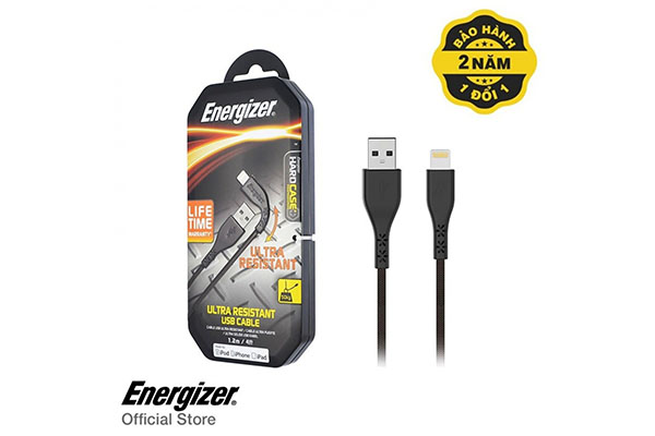 ENERGIZER LIGHTWEIGHT IPHONE CABLE LIGHTNING 1.2M - BLACK - C41UBLIGBKM