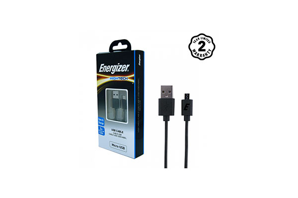 ENERGIZER HIGH-TECH MICRO-USB CABLE - BLACK - 2 MTR -C11UBMCKBK4