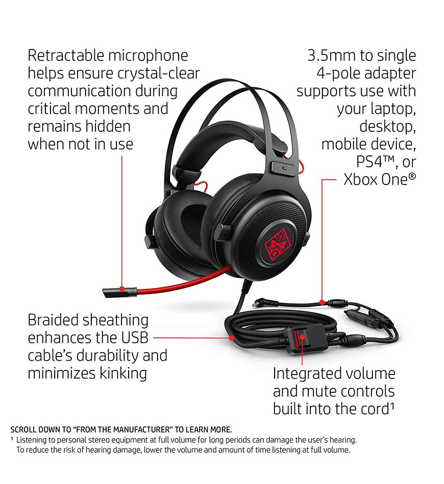 HP OMEN 800 -WIRED GAMING HEADSET -1KF76AA