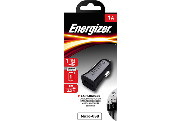 ENERGIZER CAR CHARGER 1A. + MicroUSB Cable Black (DCA1ACMC3)
