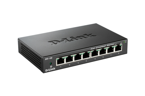 D-Link 8 port/10/100m Unmanaged Switch (DES-108/B)
