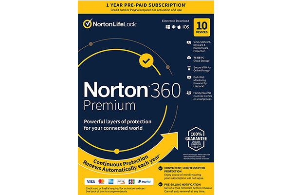 NORTON 360 Premium 75GB A (21405122) 10 users