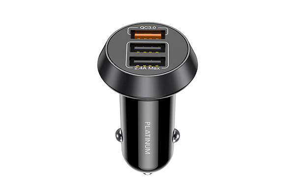 Platinum SMART Series Car Charger QC + 3in1 Cable - Black - P-BDCLAQ3N1