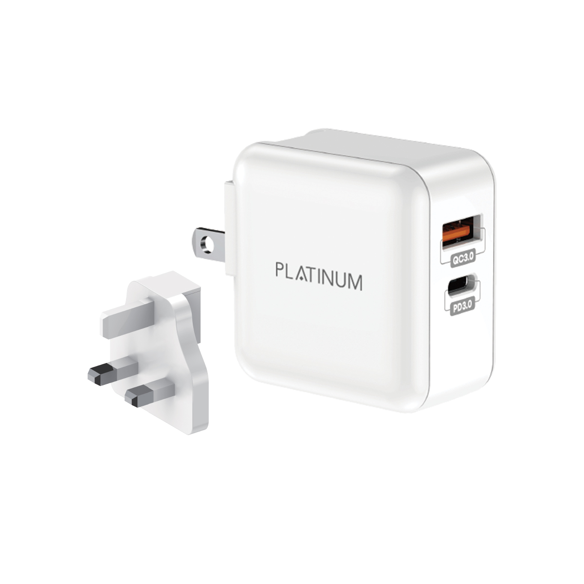 BRIGHT Series UK Wall Charger PD + QC - White