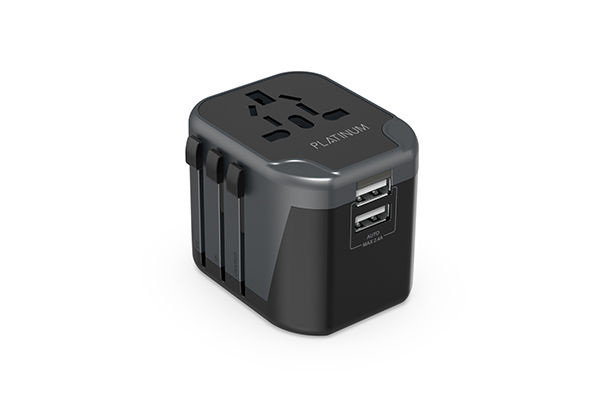 Platinum Universal Travel Adapter Dual USB 2.4A – Black - P-UTAUSB2BK